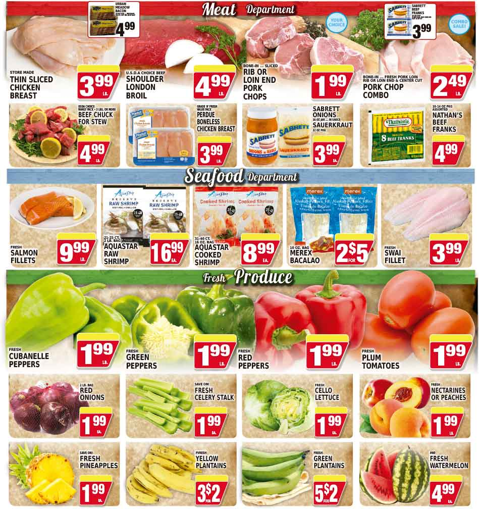 Meat, packaged meats specials, deli delights, seafood & produce department